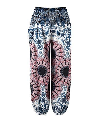 YoungSoul Pantalones Harem Niños Niñas, Pantalón Bombacho para Yoga Danza, Pantalones Baggy Estampados de Verano, 4, 9-10 años/XL