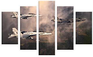 Alonline Art - Fighter Jets In Clouds by Split 5 Panels | print on high quality fine art photo paper poster (Rolled) | 53