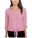 Jones New York Women's Front Tie Button Down Blouse Top (XXL, Baby Gingham Pink)