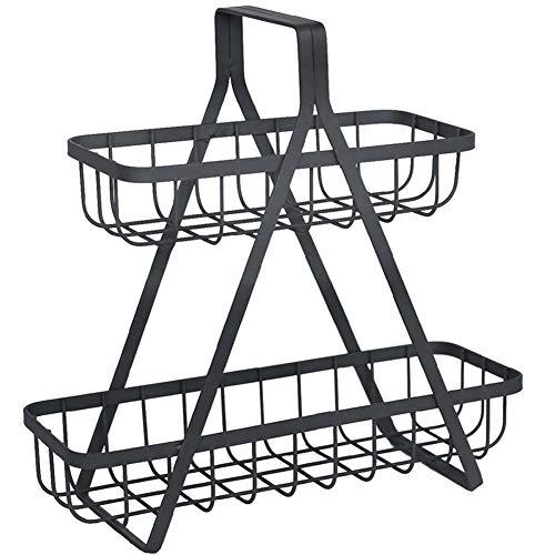 Draadopbergmand, 2-Laags Compact Metalen Opbergrek in Vintage Stijl Met Handvatten Voor Aanrecht in De Keuken Bijkeuken Kasten Badkamer - Grijs