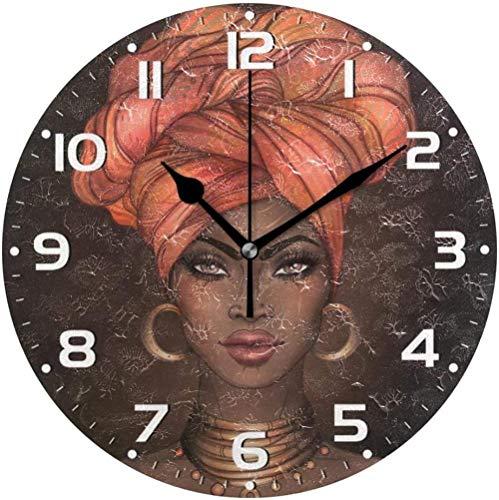Reloj De Pared Reloj De Pared para Mujeres Afroamericanas Silent No Tick Reloj De Pared Decorado para Niña Negra Africana Reloj De Pared Silencioso para Sala De Estar 30X30Cm