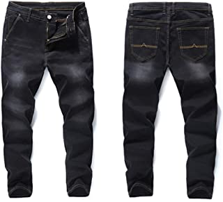 cqkj Jeans Loose Straight Elastic Anti-Theft Zipper Denim Pants