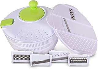 Salad Spinner by Silverflye - Large 1 Gallon (4 Quart) All-In-One Salad Maker With Mandoline Veggie Slicer And Grater