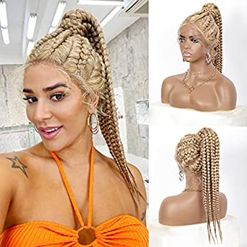 Brinbea Pre-Braided High Ponytail Style 360 Swiss Lace Front Blonde Braided Wigs with Baby Hair for Black Women Lightweight Synthetic Lace Frontal Twisted Box Braid Wig  Blonde