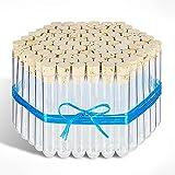 Tuuters 100x Kunststoff Reagenzgläser mit Korken (Naturkorken), Reagenzröhrchen (105 x Ø 17mm)