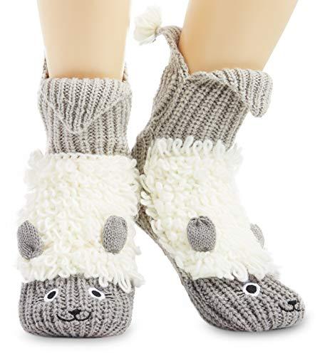 CityComfort Fluffy Thick Slipper Socks Novelty Non Slip Crew Socks, Ladies Funny 3D Knitted Animal Socks Unicorn Gifts For Women Girls Secret Santa, Stocking Fillers (Grey and White)