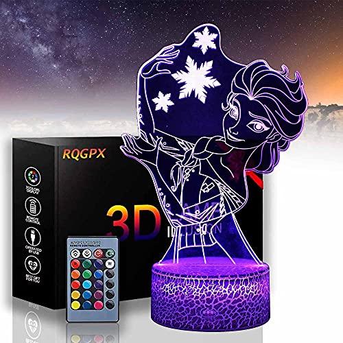 Elsa - Lámpara de mesa para juegos de mesa con 16 colores para decoración de cambio de color, regalo perfecto para cumpleaños, Navidad, para bebés, adolescentes, amigos