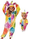 GirlsUnicornPajamasOnesieCostumewithMatchingDollPajamas(TiedyeStarrySky,6Years)