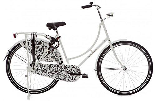 """Highlander - Bicicleta holandesa 28"""" blanca y negra"""