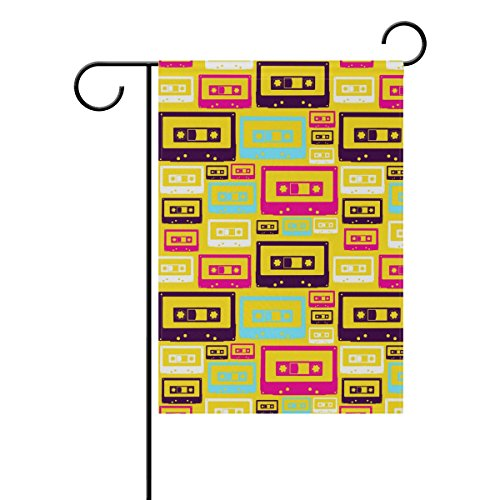 COOSUN Retro Pop Audio Tapes Patroon Polyester Tuinvlag Outdoor Vlag Thuis Party Tuin Decor, Dubbelzijdig, 12