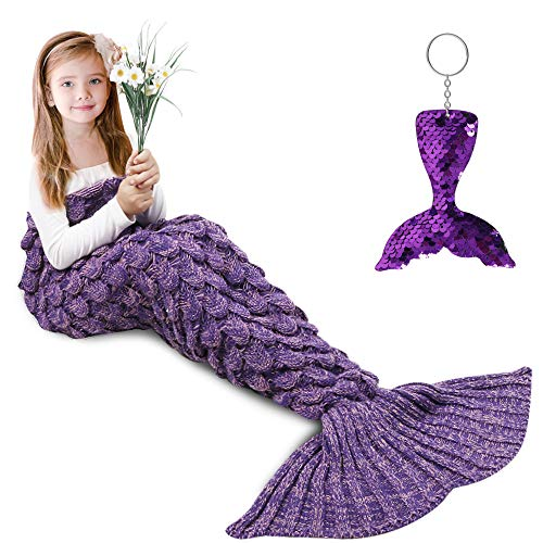 Mermaid Tail Blanket, Amyhomie Mermaid Blanket Adult Mermaid Tail Blanket, Crotchet Kids Mermaid Tail Blanket for Girls (ScalePurple, Kids)