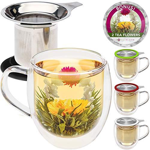 Teabloom Doppelwandige Tasse aus Borosilikatglas mit Edelstahl-Teesieb und Deckel, 2 Gourmet-Teeblumen, schwarzer Deckel