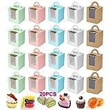 Cajas Pastel Pequeño Caja Muffins 4 Pcs Cajas Pastel Cartón Cajas Regalo Pastelería Cajas Cupcakes Individuales Con Ventanas y Asas Para El Hogar Panadería Azul Cielo Rosa Verde Piel De Vaca Blanco