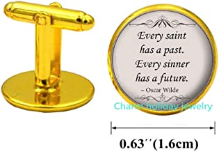 Every Saint Has A Past and Every Sinner Has A Future Quotation Cufflinks-Handmade Quote Cufflinks-Quote Cuff Links Literary Jewelry Gift-#261