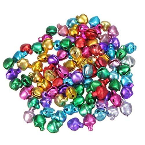Tinksky 100pz piccolo Natale Jingle Bells perline Charms gioielli marcatura (colore misto)