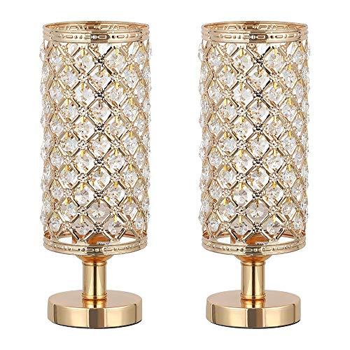 Lámpara de mesa, juego de 2 lámparas de noche de cristal, diseño de moda, lámpara de noche con perlas y sombra de metal, lámpara de noche para dormitorio o salón