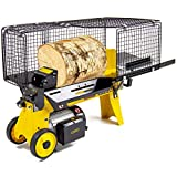 FOX 4 Ton Electric Log Splitter Hydraulic Timber Hardwood Softwood 1500w Wood Cutter & Safety Cage