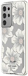 kate spade new york Defensive Hardshell Case Compatible with Samsung Galaxy S21 Ultra 5G - Hollyhock Floral Clear/Cream with Stones/Cream Bumper