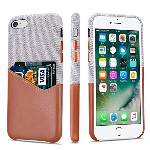 Lopie [Sea Island Cotton Series] Slim Card Case Compatible for iPhone 6s Plus and iPhone 6 Plus, Fabric Protection Cover with Leather Card Holder Slot Design, Light Brown