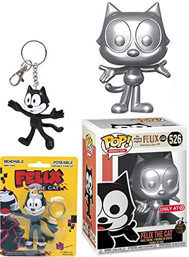 Amazing Original Felix The Cat Silver Exclusive Figure Pop! Animation Bundled with Character Keychain Bendable Classic 2 Items