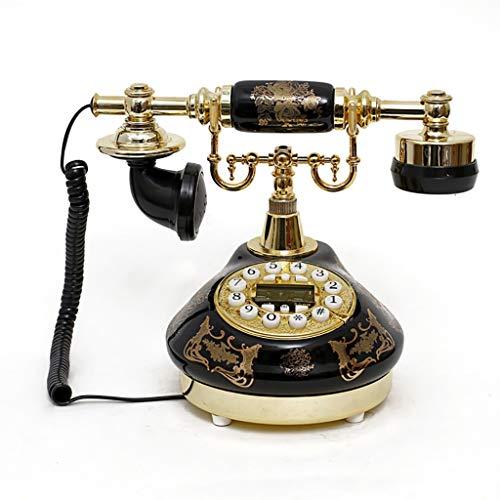 Teléfono casero de la moda antigua retro con el teclado de dial rotario, la decoración del teléfono fijo antiguo de la antigua antigua de la moda de la antigua, el sistema de decoración telefónica de