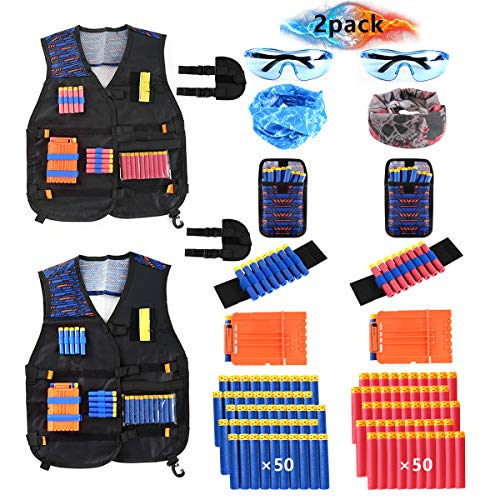 Locisne 2 Pack Kids Jungle Tactical Jacket Kit für Nerf Spielzeugpistole N-Strike Elite Series(100 Schaumstoffpfeilen+2 Schutzbrille+2 Gesichtsmaske+2 Quick Reload Clip+2 Armband+2 Dart Tasche+2