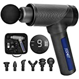 Muscle Massage Gun Deep Tissue for Athletes, Percussion Massager with 9 Levels and 6 Massage Heads, YESMET Handheld Massager for Gym Office Home Post-Workout Pain Relief - Portable Case Included