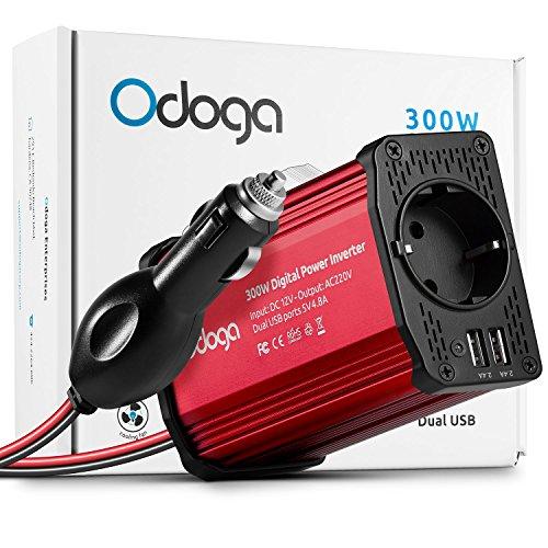 Odoga Convertisseur Transformateur Chargeur pour Voiture 300W 12V 220V-240V Onduleur DC/AC avec Ports De Charge USB Double 4.8A - Rechargez Votre Ordinateur Portable, Ipad, Iphone, Tablette et Plus