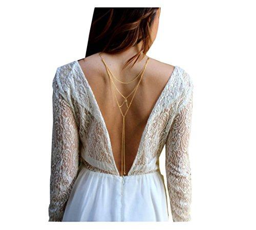 1 collier de fond croisé avec strass pour femme et fille - Accessoire de robe de mariage - Chaîne de corps pour mariée et bal de fin d'année.