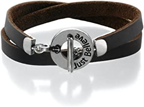 Sea-Smadar Eliasaf Leather Bracelet Brown Unisex with Engraved Silver Plated Palette, Blessing - Just Believe