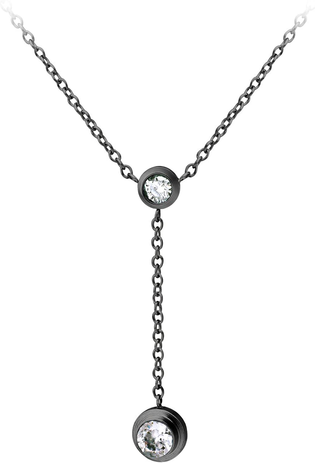 555Jewelry Womens Stainless Steel Lariat Y Drop Layer Round CZ Pendant Necklace