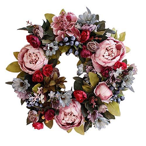 Gaodpz Flower Wreath Peony Garland Artificial Peony Hanging Leaves Vine Silk Front Door Wreaths Wall Christmas Wedding Decoration