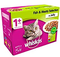 WHISKAS 1+ Adult Cat Food Pouches Fish and Meat Selection in Jelly 12 x 100g (1.2kg) Whiskas Quantity: 1