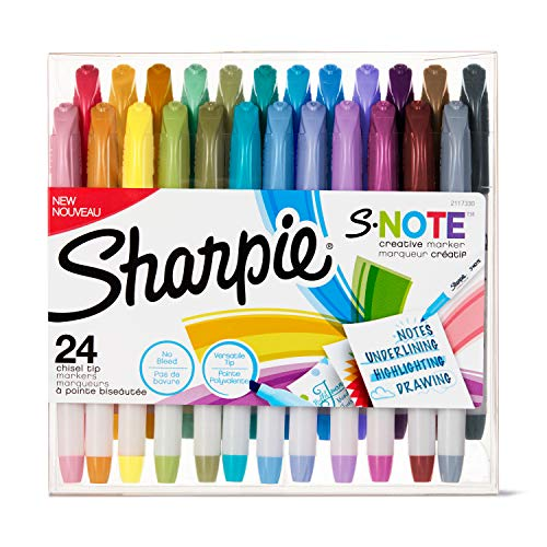 Sharpie S-Note Creative Markers, Highlighters, Assorted Colors, Chisel Tip, 24 Count
