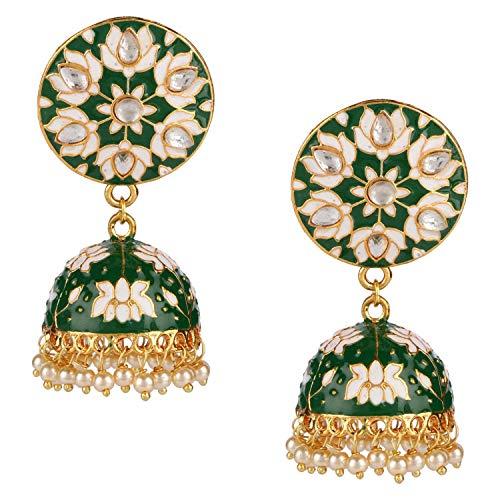 Efulgenz Indian Bollywood 14K Gold Plated Traditional Wedding Green Jhumka Jhumki Earrings Jewelry Set