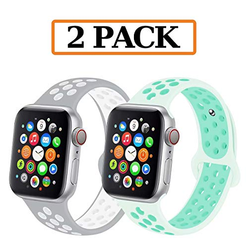 GZ GZHISY Newest Band Compatible for Apple Watch Bands 38mm 40mm, Soft Silicone Sport Band Replacement Wristband, Compatible for iWatch Apple Watch Series 5/4/3/2/1,(2 Pack G, 38/40SM)
