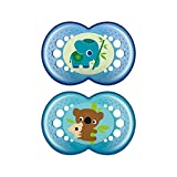 MAM Crystal Pacifier (2 pack, 1 Sterilizing Pacifier Case), Pacifiers 6 Plus Months, Baby Boy Pacifier, Best Pacifiers for Breastfed Babies, Sterilizing Storage Case