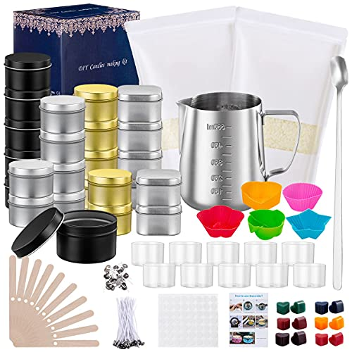 Luxury Candle Making Kit - Full DIY Soy Candle Making Suplies for Adults Beginners, Craft Kit Include 2lbs Soy Wax,Melting Pot,Dyes,Wicks and More