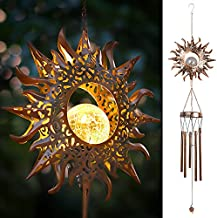 DesGully Wind Chimes, Sun Crackle Glass Ball Solar Wind Chime w/Amazing Deep Tone Outdoor Clearance Unique Garden Decor for Outside Hanging, Gifts for Her/Him (42