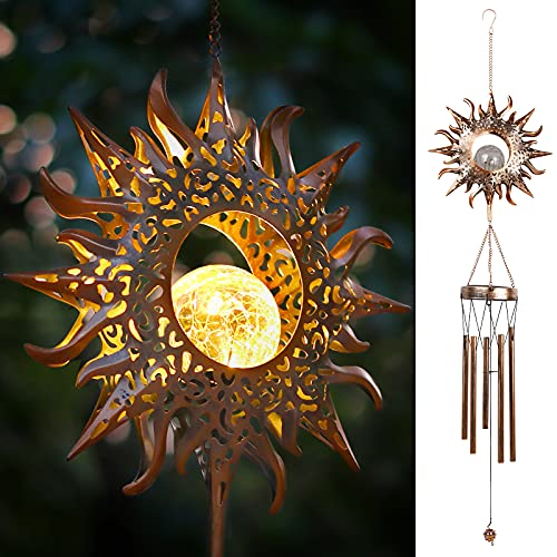 DesGully Solar Wind Chimes, Sun Wind Chime w/Crackle Glass LED for Outdoor Clearance Unique Outside Waterproof Chimes, Gifts for Her/Him (42