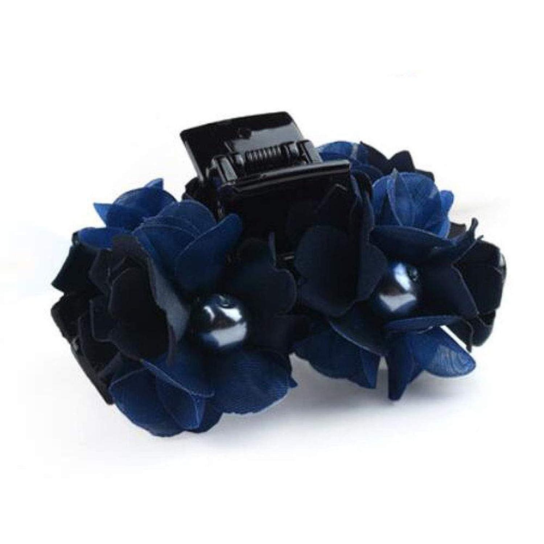 Chinashow エレガント 大 ヘア クリップ 爪 クリップ ヘア アクセサリー シック スタイリング 厚い髪 爪 クリップ レディース と ガールズ用3Dフラワーネイビーブルー