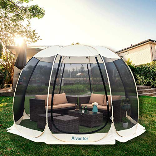 Alvantor Screen House Room Camping Tent Outdoor Canopy Dining Gazebo Pop Up Sun Shade Shelter 10 Mesh Walls Not Waterproof Beige 15'x15' Patent