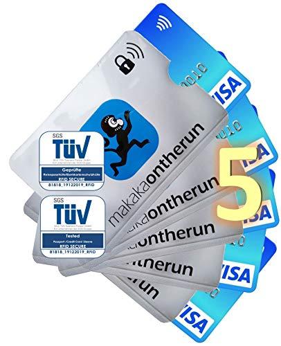 TÜV geprüfte MakakaOnTheRun RFID Blocking NFC Schutzhüllen - RFID Blocker NFC Schutz Kreditkartenhülle für EC-Karte, Bankkarte, Kreditkarte, Personalausweis (MakakaOnTheRun 5)