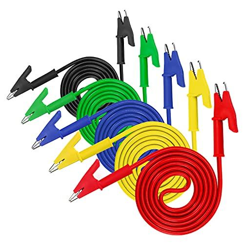 Krokodilklemme Messleitungen in fünf Farben, KAIWEETS KT04 Zubehör für Multimeter, 15A Kabel Verlängerungskabel für elektrische Prüfungen