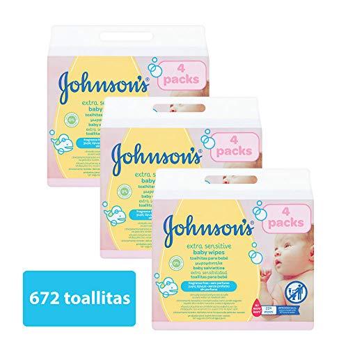 Johnson's baby - Toallitas para bebe Extra sensibilidad, 224 uds (Pack de 3 - 672 toallitas)