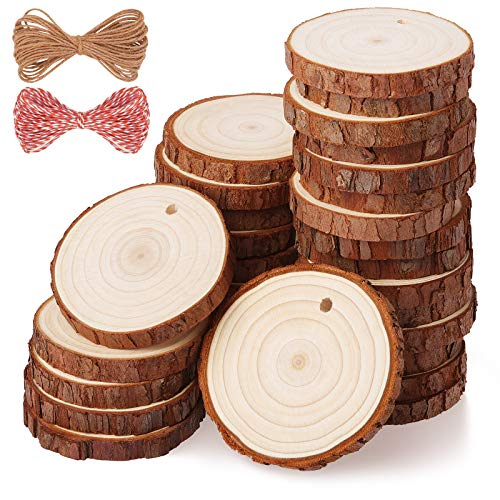 Fuyit Wood Slices 30 Pcs 2.0-2.4 Inches Craft Wood kit Unfinished Predrilled Tree Slices with Hole Wooden Circles Great for Arts and Crafts Christmas Ornaments DIY Crafts