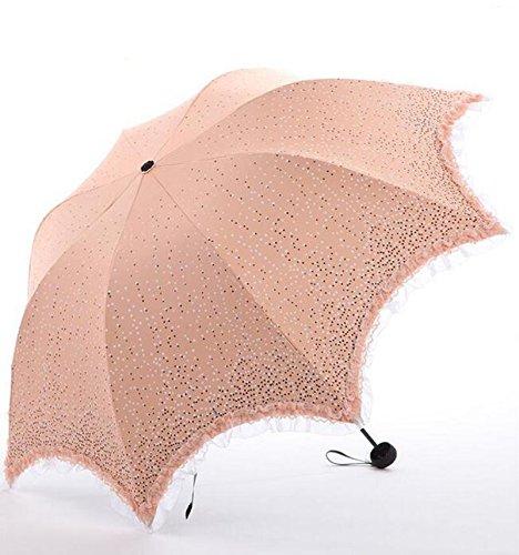 Sonnenschutz Drei Falten Sunny Rain Regenschirm Lace Edge UV Regenschirm ( farbe : A )