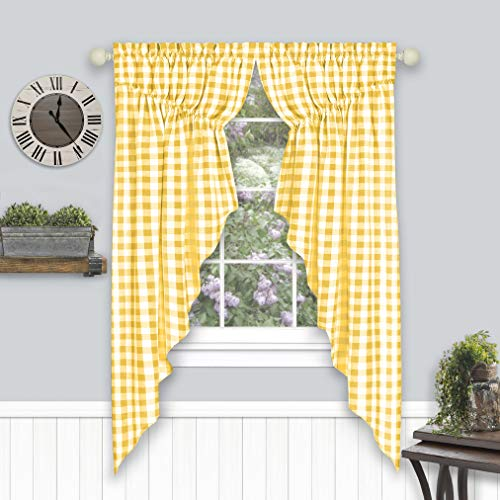 GoodGram 2 Pack Country Farmhouse Plaid Gingham Check Swag Valance Curtain Panels- Assorted Colors (Yellow)