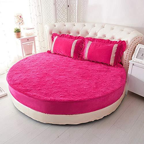 HPPSLT Protector de colchón/Cubre colchón Acolchado de Fibra antiácaros, Transpirable, Sábana Redonda Engrosada Acolchada-Rosa roja-Espesa_2m