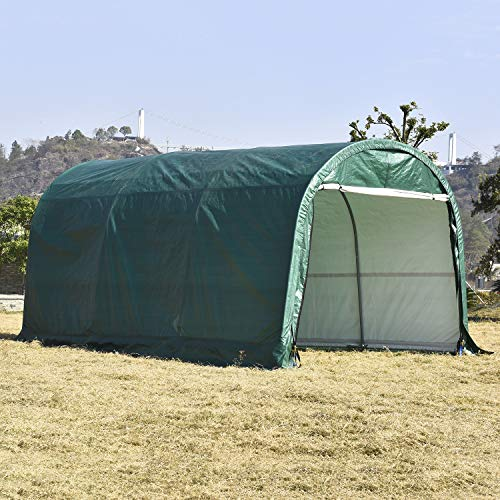 Bestmart Heavy Duty Carport with Zipper Portable Garage Outdoor Storage Shed Canopy Green,10x15ft